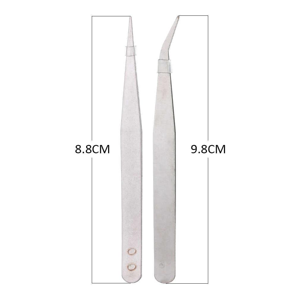 Pinzas de acero inoxidable de 1/3/5/10 piezas alicates de codo recto de tono plateado herramienta para plantas de pescado ceja conjunto de montaje de precisión de Clip