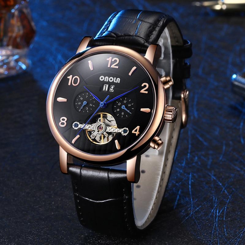 ONOLA Brand Men Watches Automatic Mechanical Watch Tourbillon Sport Clock Casual Leather Business Wrist Watch Relojes Hombre