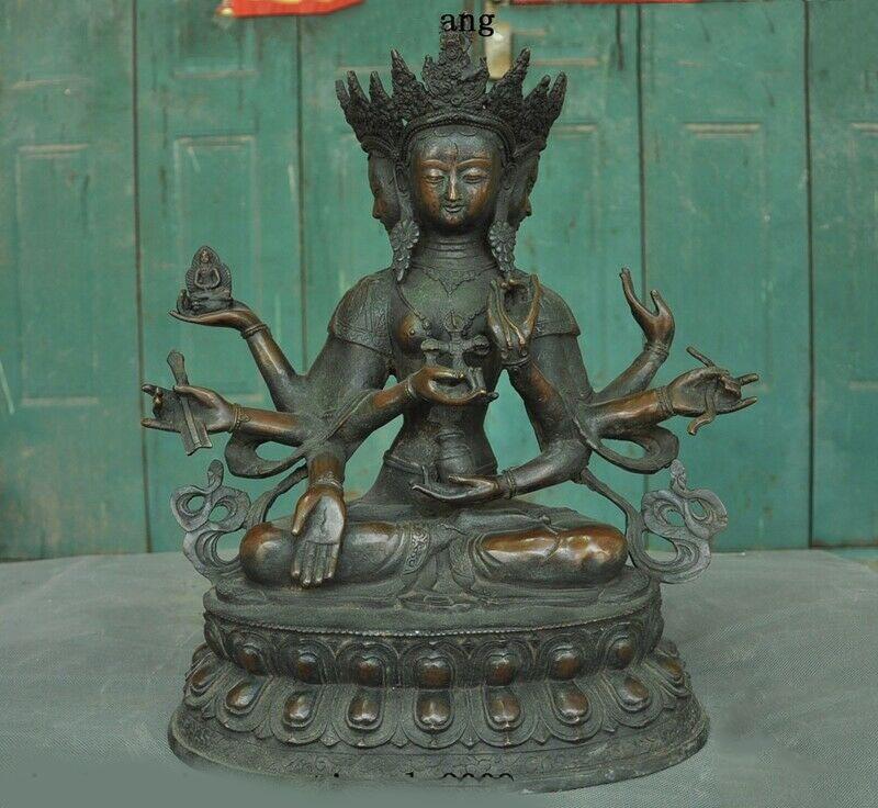 "wedding decoration 17""Tibetan Buddhism Bronze 3 Head 8 Arms Namgyalma Ushnishavijaya Buddha Statue Statues & Sculptures     - title="