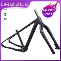 Quadro de bicicleta para neve  quadro de bicicleta de carbono com garfo  26er 16  18  freio a disco  gordura de neve  bsa pneus adequados para bicicleta 4.8
