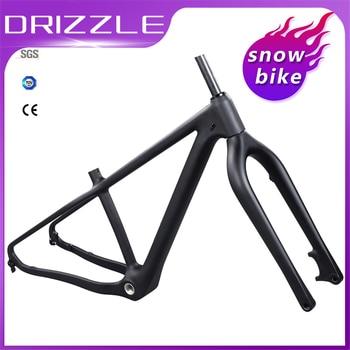 цена на snow bike 26 Carbon fat bike frame with fork 26er 16 18 bicycle frame BSA disc brake carbon snow fat bike frames fit 4.8 tires