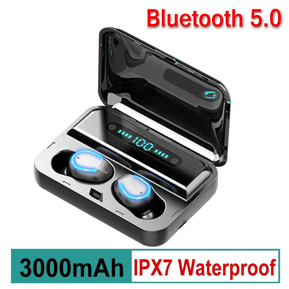 TWS LED Display Mini Wireless Stereo Bluetooth 5.0 Earphone Waterproof Charging Bin Mini Invisible Button
