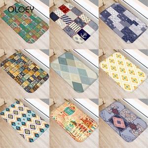 Image 1 - 40 * 60cm Plaid Pattern Mat Non slip Suede Soft Carpet Door Mat Kitchen Living Room Floor Mat Home Bedroom Decorative Floor Mat.