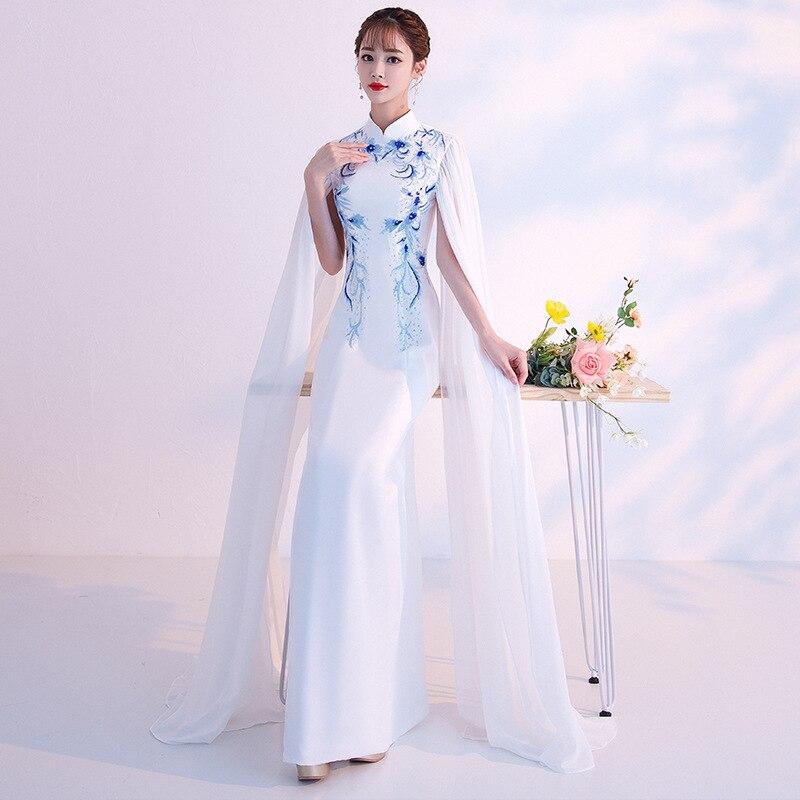 Blanc bleu traditionnel chinois femmes robe nouveauté Floral mince Long Cheongsam dames élégant col Mandarin Qipao XS-XXXL