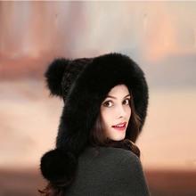 Ladies really mink fur hats earmuffs fox fur hair ball noble women warm winter fashion cheap HNRUQU Adult Bomber Hats