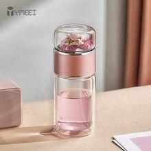 Ymeei 280ml chá garrafa de água de vidro de borosilicato alta parede dupla copo de água de chá portátil copo de vidro copo de chá de aço inoxidável