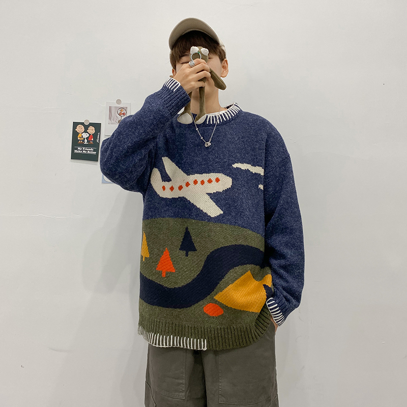 Winter Men's Cartoon Printing Clothes Sweater Woollen Pullover Loose Casual Cashmere Knitting Grey/blue Color Coats Size M-2XL
