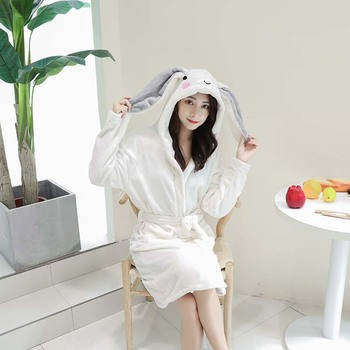 White Velvet Bathrobe Women Cartoon Cute Warm Hooded Robe Ladies Casual Rabbit Flannel Kimono Bath Robes Dressing Gowns