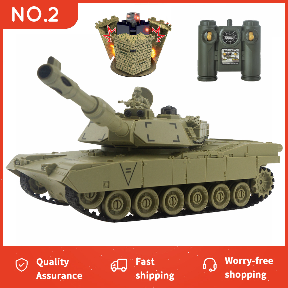RC Tank M1A2 T-34 United States War Militar Battle Launch Bunker Remote Control Car Hobby Boy Toys for Kids Children Gift