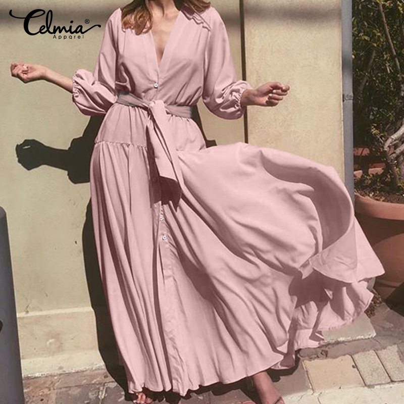 Plus Size Ruffles Dress Women V Neck Puff Sleeve Long Maxi Dresses 2019 Celmia Ladies Casual Loose Belted Party Vestidos Robe