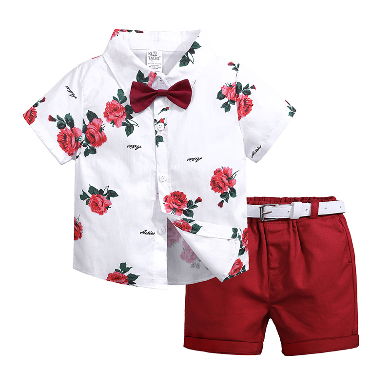 Boys Clothing Sets Summer Toddler Boy Clothes Casual Flower Print Shirt Tops+Shorts Suit Fashion Kids Clothes 2 3 4 5 6 7 8 Year