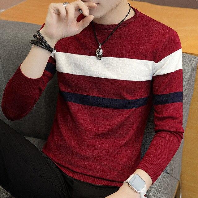2021 Autumn Men's Stripes Sweater Youth round Neck Thin Cotton Knitwear 1