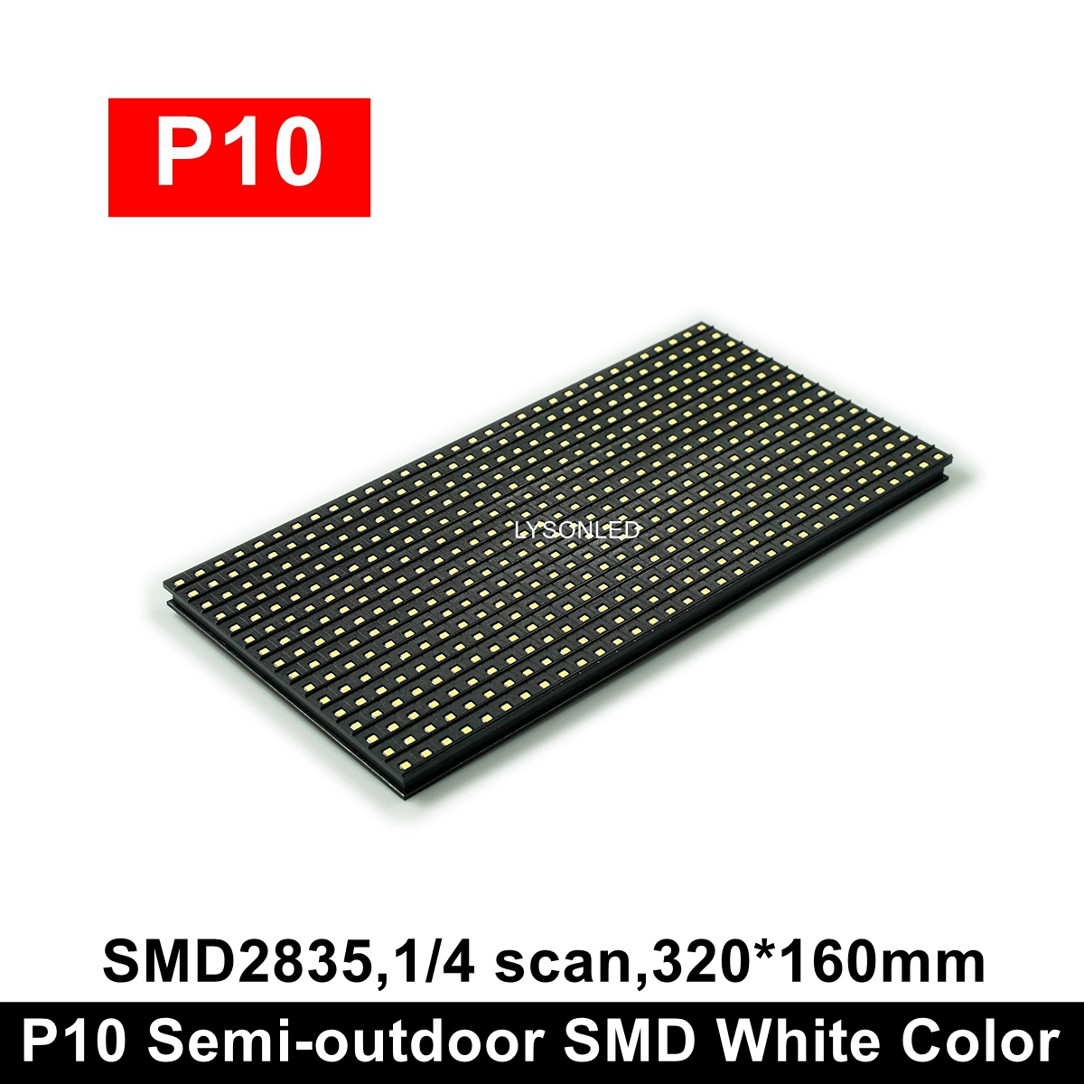 320*160mm P10 Semi-outdoor Single Color White / Red SMD LED Module 32x16 Pixels For Indoor Running LED Display Sign Board