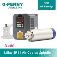 ¡Nuevo producto! 220V 1 5 kW ER11 CNC de husillo Motor refrigerado por aire de 80mm  refrigeración por aire  4 rodamientos CNC y 220v 1 5 kW VFD inversor y soporte de 80mm
