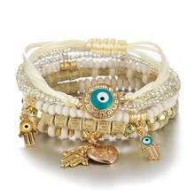 Hot selling handmade beaded fashion eyes rice beads temperament multi-layer bracelet beach bohemian style bracelet women