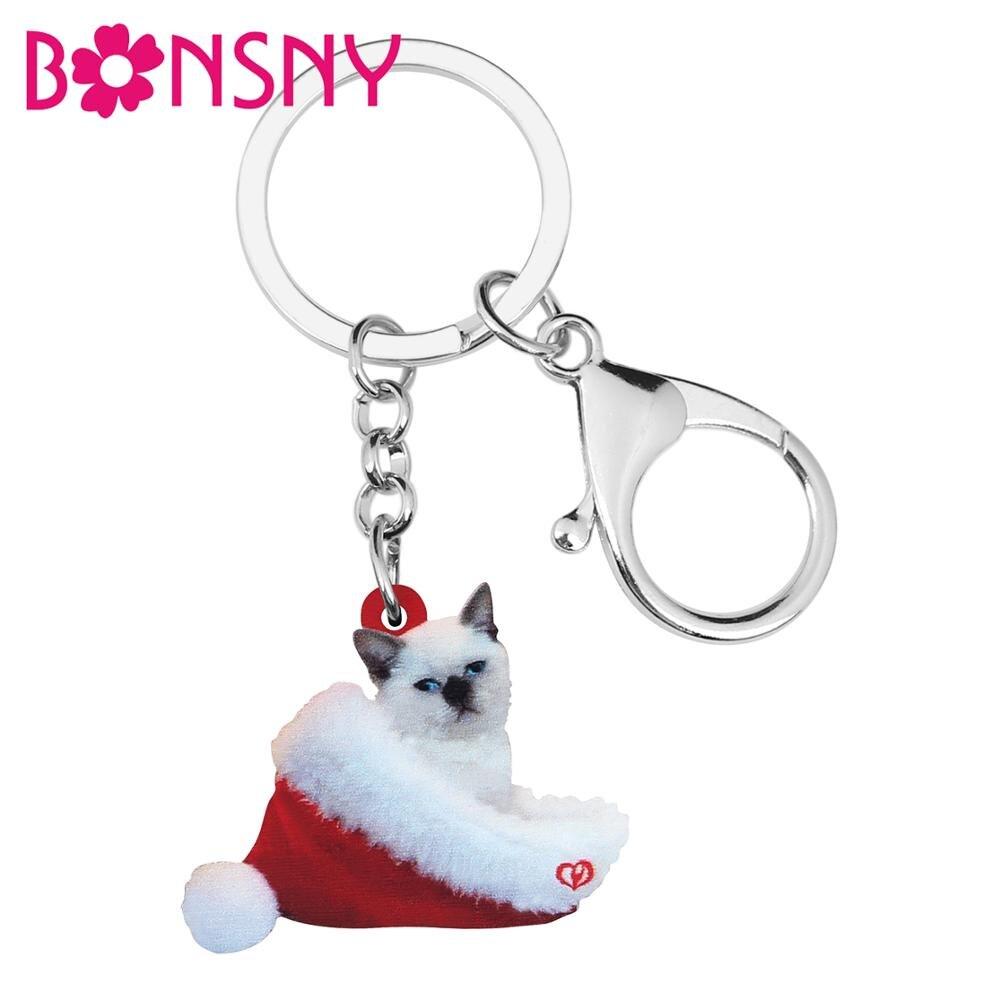 Bonsny Acrylic Christmas Hat Siamese Cat Kitten Key Chains Key Ring Bag Car Purse Decorations Keychain For Women Girl Charm Gift
