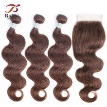 3/4-Bundles Human-Hair-Extensions Chocolate Bobbi-Collection Closure-Color Lace Body-Wave
