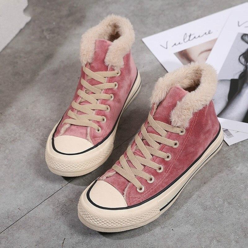 Zapatos de invierno para mujer, zapatillas de plataforma de moda, de moda, de Color sólido para mujer, Zapatillas altas de invierno de felpa negra Rosa N-72 4