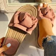 New Bow Summer Sandals Slipper Women Summer Beach Indoor Outdoor Linen Flip-flops Shoes Female Fashion Floral Shoes(China)