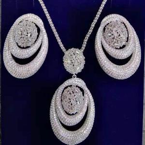 Image 4 - GODKI New Luxury Exclusive Circle Necklace Earring Sets For Women Wedding Bridal Cubic ZirconDubai High End Jewelry Set 2019