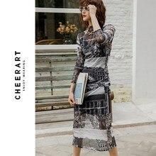 CHEERART – robe longue transparente en maille, manches longues, col roulé, moulante, sous-vêtements pour femmes, collection automne 2020