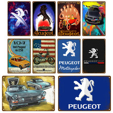 PEUGEOT Garage Metal Sign Poster Vintage Retro Tin Sign Plaque Metal Vintage Decor Room Decoration Wall Decor Shabby Chic Bar