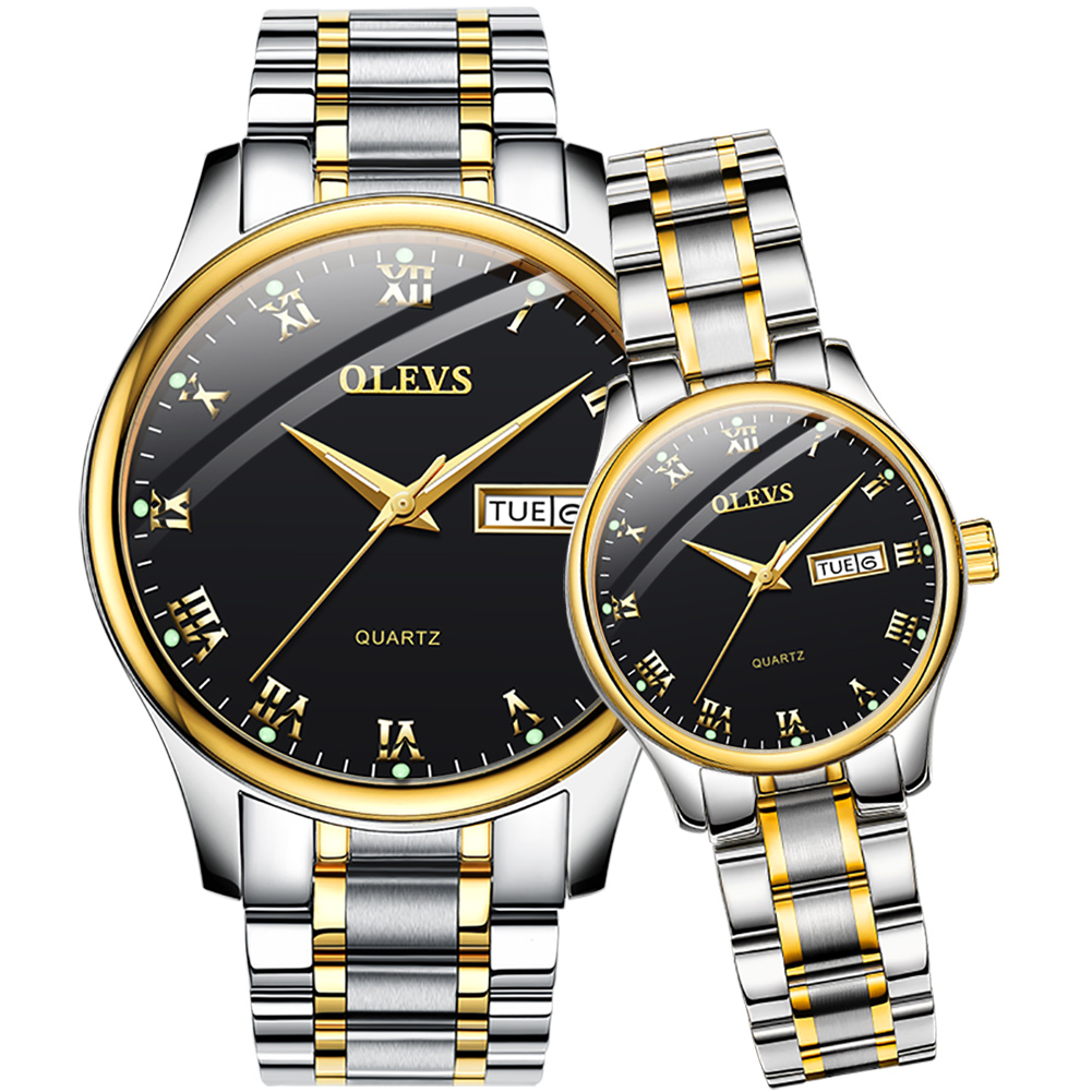 OLEVS Couple Watch Two Tone Stainless Steel Band Fashion Waterproof His and Her Quartz Wristwatch Set for Lovers One Pair