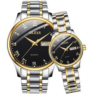 OLEVS zegarek dla pary dwukolorowy pasek ze stali nierdzewnej moda wodoodporny dla niej i dla niego zegarek kwarcowy zestaw dla miłośników jedna para
