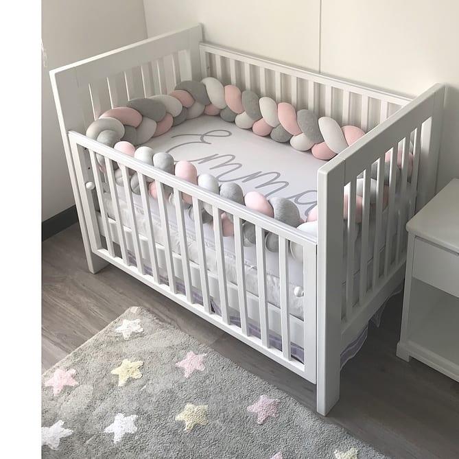 1 Meter Baby Bed Bumper Crib Bumper Protector Cuna Knotted Braided Baby Crib Bumper Knot Parachoques Cuna