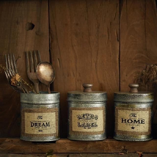 Organisateur bureau articles divers boîte cuisine vaisselle Antique métal boîte de rangement écrous Snack stockage pot