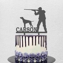 Персонализированный охотничий Топпер для торта с именем на заказ, силуэт охотничьей собаки для охотника, украшение на день рождения