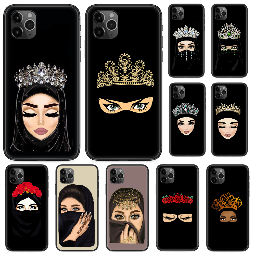 Muslim Islamic Eyes Arabic Hijab Girl Phone case For iphone 4 4s 5 5S SE 5C 6 6S 7 8 plus X XS XR 11 PRO MAX 2020 black shell 3D