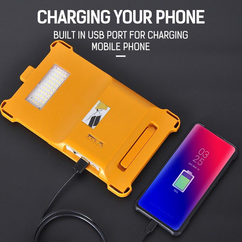 Bright Portable Spotlight Work Light USB Rechargeable Flashlight Solar Energy Light Built-in Battery For Hiking Hunting Camping