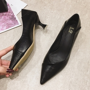 Image 2 - 2020 נשים משאבות אביב סתיו נשים גבוהה עקבים נעלי אופנה נשי 6cm העקב משרד גבירותיי להחליק על עבודה נעליים הנעלה שחור