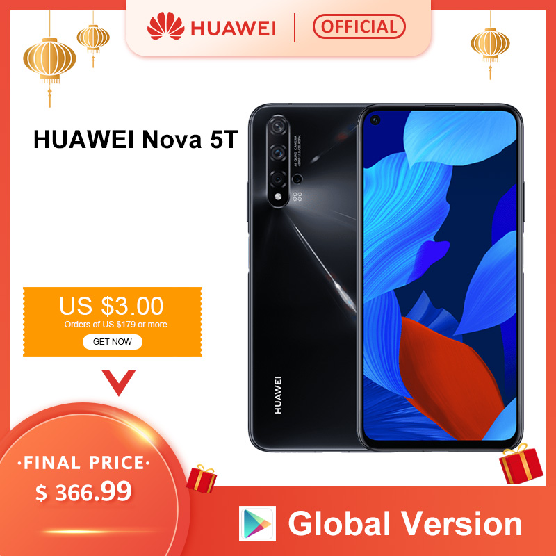 Global Version Huawei Nova 5T 5 T 8GB 128GB Smartphone 48MP Cameras 32MP Front Camera 6.26'' Full Screen Kirin 980 Android 9