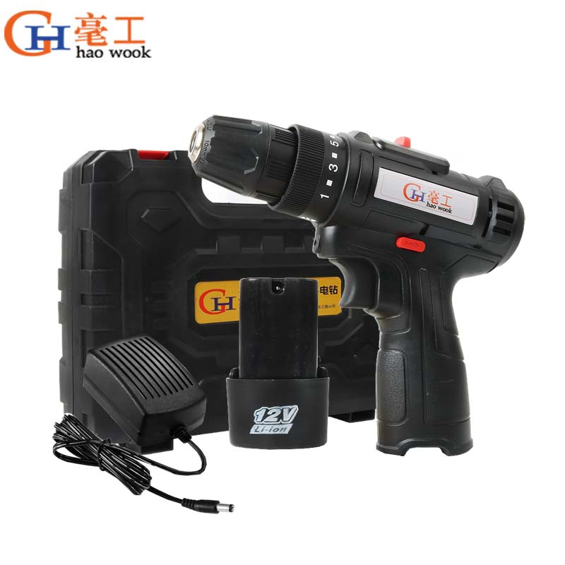Haowook 12V Electric Drill Cordless Screwdriver Lithium Battery Mini Drill Multi-function Cordless Screwdriver Power Tools