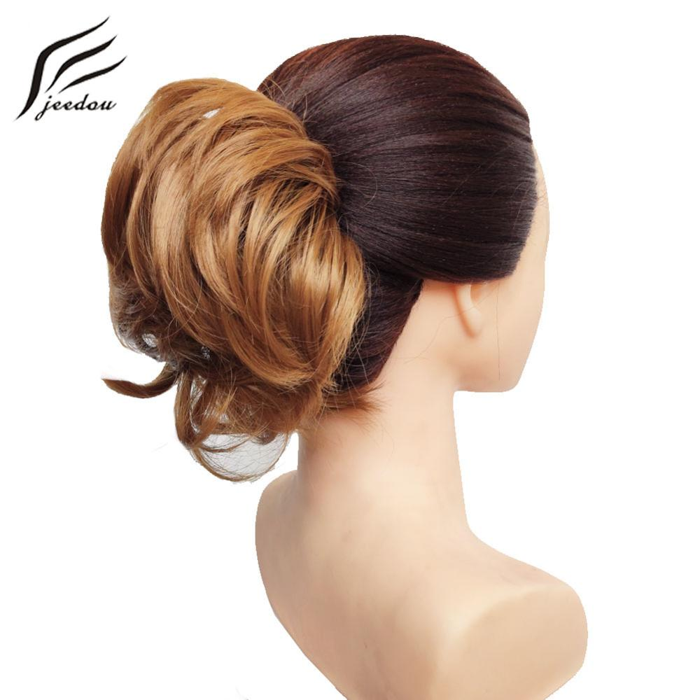 Jeedou Natural Chignon Synthetic Hair Rubber Band Donut Two Plastic Comb Easy Fast Bun Coque Cabelo Black Hair Bun Pad
