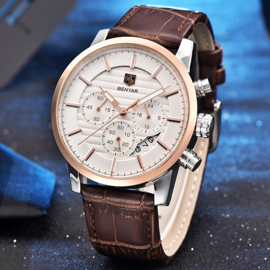 NEW <font><b>BENYAR</b></font> Men's Watches Top Brand Quartz Sport watches men fashion casual leather male waterproof wristwatch reloj hombre 2020 image