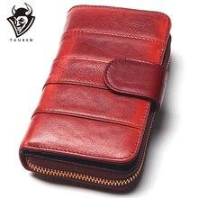 Dip Dye Color RFID Women Split Leather Style Importcowhide Medium Paragraph Buck