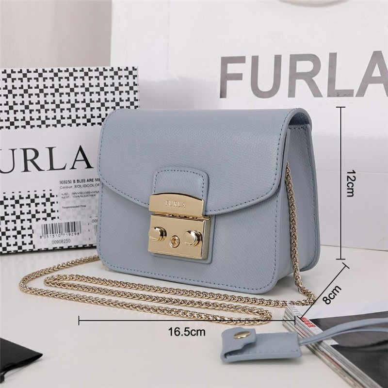 Oryginalny FURLA torebki damskie, wysokiej jakości damskie Furla skórzane torby Smoky niebieski kolor S rozmiar 16.5cm x 12cm x 8cm