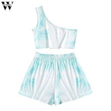 Womail Two Piece Set Women Tie Dye Print one shoulder Tshirt Shorts Casual Outfits lounge Jogging Femme loose Shorts Tees Summer(China)