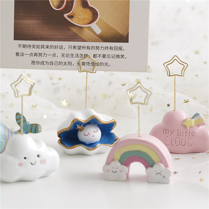 Photo Clips Notes Folder Creative Cartoon Cloud Message Clips Business Card Stand Note Clip Desktop Decorative Ornaments