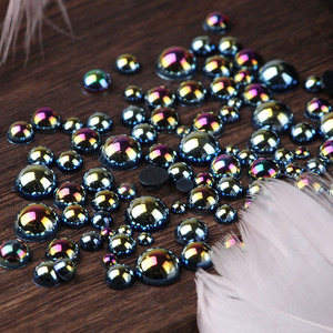 Image 2 - AB Black Half Pearl Mixed Size from 1.5mm To 10mm Craft ABS Resin Flatback Half round imitation pearls Nail DIY Decoration