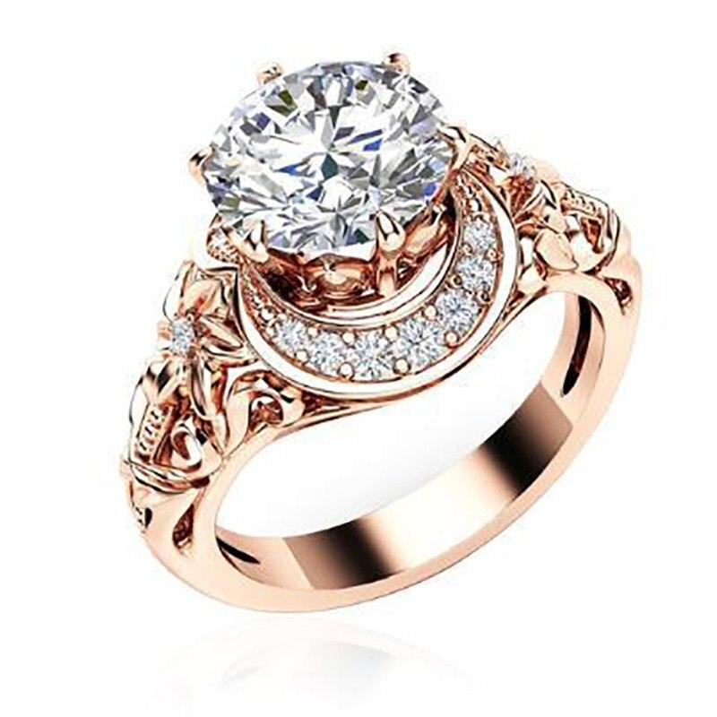 KAKANY 2019 européen nouveau charme personnalité exquis Simple or Rose prune Zircon fleur anneau main bijoux de luxe bague femme