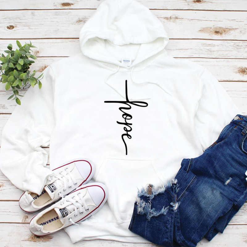 Nadzieja list damskie bluzy z kapturem i nadrukiem Christian jezus wiara sweter zobacz światło miłość dziewczyna odzież z wycięciem pod szyją w stylu casual strój Drop Ship
