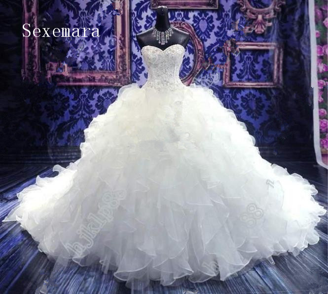 Sweetheart Bridal Gown 2018 Luxury Catherdarl Train Vintage Beaded Organza Ruffles Evening Prom Mother Of The Bride Dresses