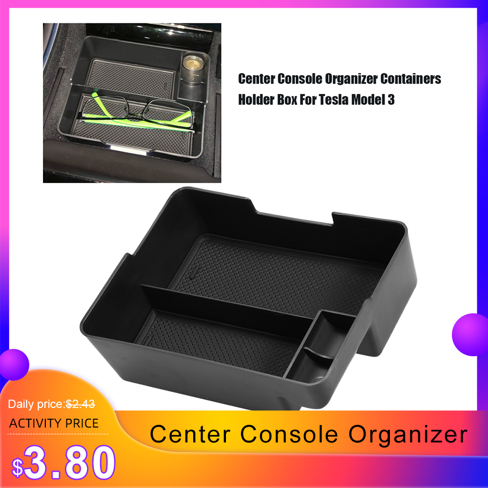 Unique For Tesla Model 3 2017-2019 Car Armrest Box Storage Center Console Organizer Containers Holder Box Car Styling Accessory
