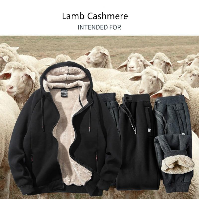 Casual Sports Sweatsuit Winter Men Sweat Suit Plus size 6XL 7XL 8XL Hooded Tracksuit Male Thick Zipper 2 PCS Men Sets Cashmere