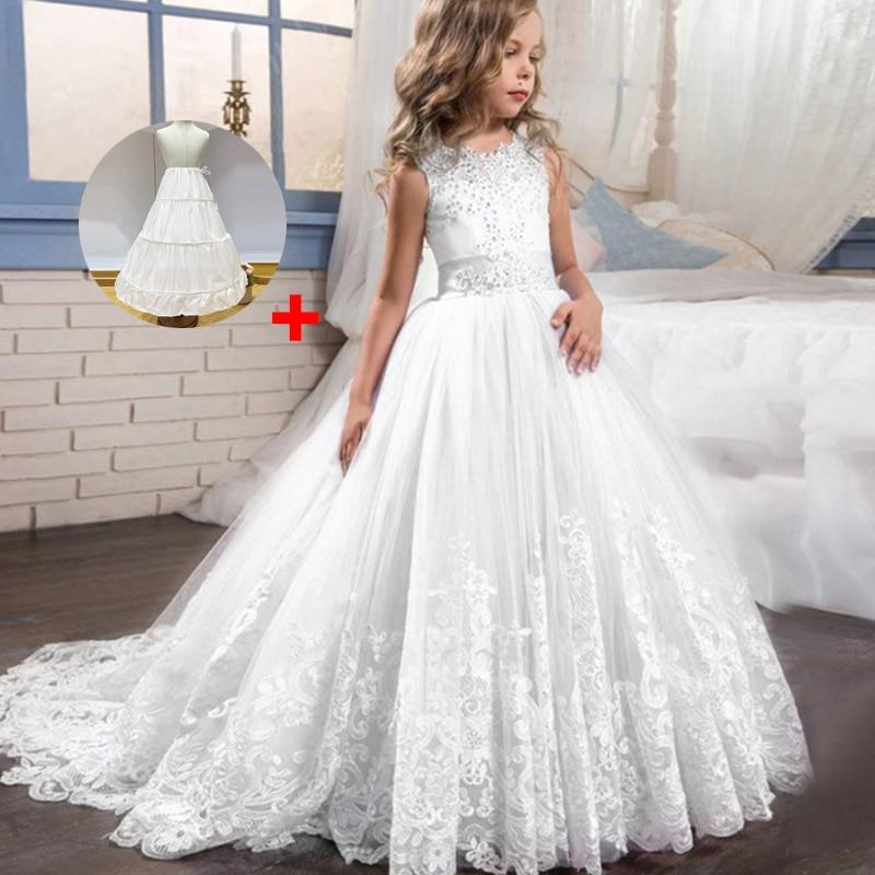 Кружевные платья для девочек с цветочным рисунком и длинным шлейфом; элегантные платья невесты; бальное платье; вечернее платье; платья для первого причастия; Vestido Comunion - Цвет: white