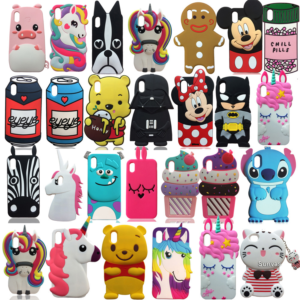 For iPhone 6 6s 7 8 Plus X XR XS Max 11 11pro 11 Pro Max 3D Cute Cartoon Soft Silicone Case Cell Phone Back Cover Skin Shell